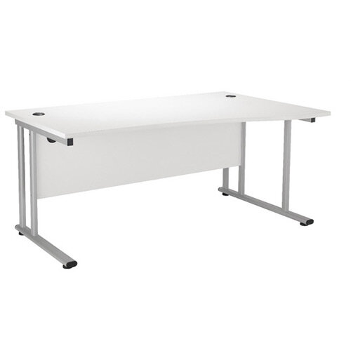 First Wave Right Hand Office Desk 1600mm White with Silver Double Cantilever Leg KF838956