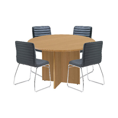 First Oak 1200mm Diameter Round Meeting Table with Dart Meeting Chairs