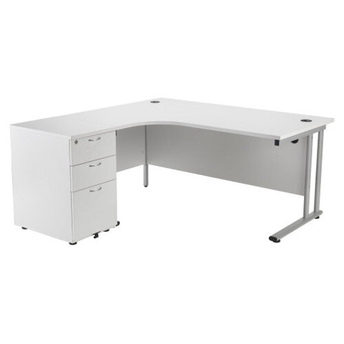 BUNDLE OFFER Radial Left Hand Desk With Desk High 3 Drawer Pedestal White