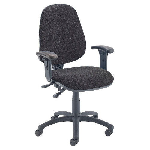First High Back Operators Office Chair Charcoal with Adjustable Arms KF839244