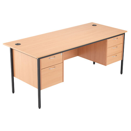 Jemini 18 Beech 1786mm Office Desk with 2 and 3 Drawer Pedestal KF839500