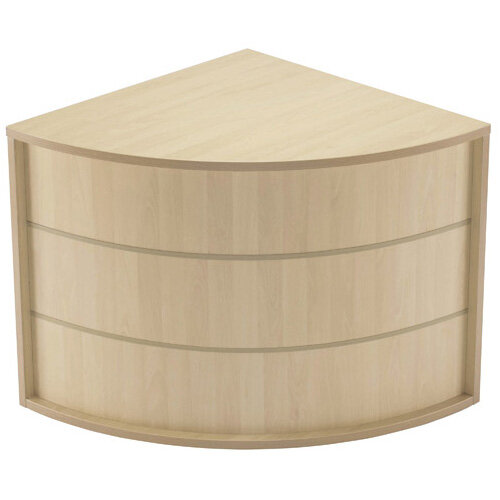 Jemini Modular Reception Desk Corner Base Unit Maple RADIUSKOSEMMA