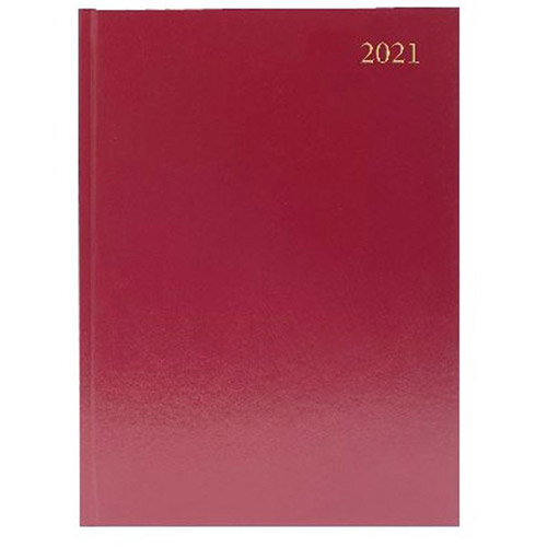 2021 A4 Desk Diary Week to View Burgundy KFA43BG21