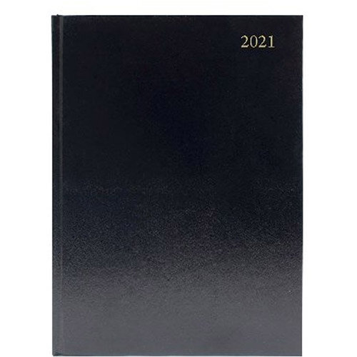 2021 A5 Desk Diary Day Per Page Appointments Black KFA51ABK21