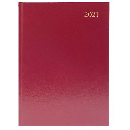 2021 A5 Desk Diary Week to View Burgundy KFA53BG21