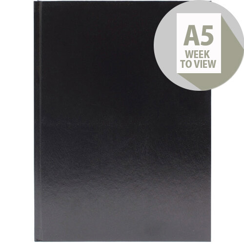 Desk Diary A5 Week to View 2020 Black KFA53BK20