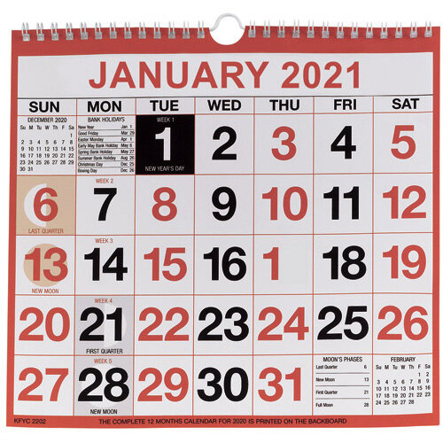 Wirebound Monthly Calendar 249 x 231mm 2021 KFYC2221