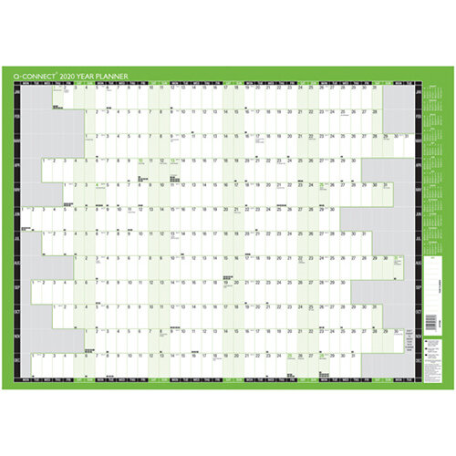 Q-Connect Year Planner Unmounted 855 x 610mm 2020 KFYPU20