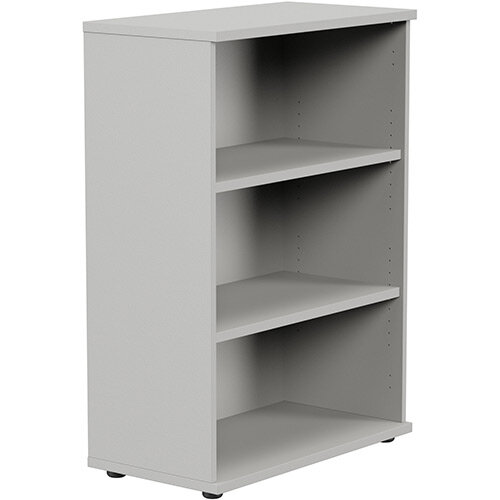 Medium Bookcase 1130mm High With Adjustable Shelves &Floor Leveller Feet Grey Kito
