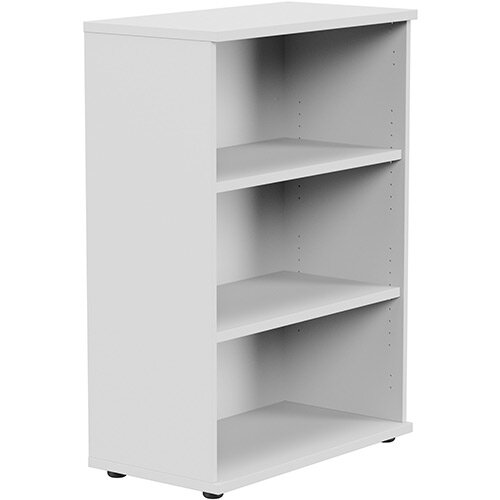 Medium Bookcase 1130mm High With Adjustable Shelves &Floor Leveller Feet White Kito