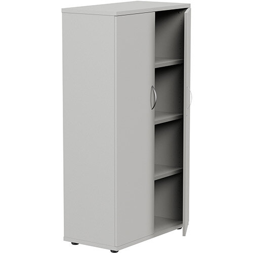 Medium Tall Cupboard with Adjustable Shelves and Floor-leveller Feet W800xD420xH1490mm Grey Kito