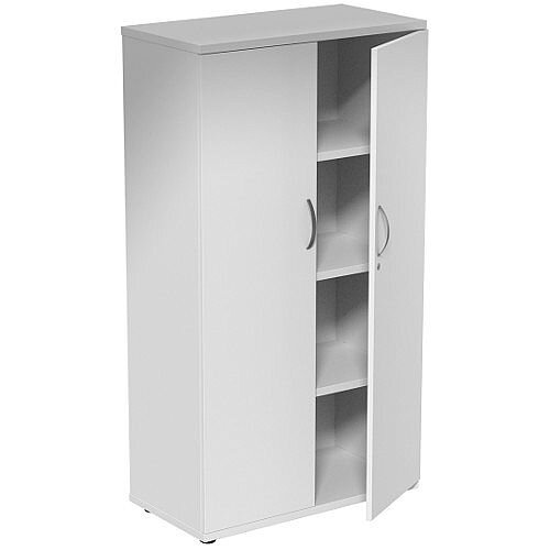 Medium Tall Cupboard with Adjustable Shelves and Floor-leveller Feet W800xD420xH1490mm White Kito