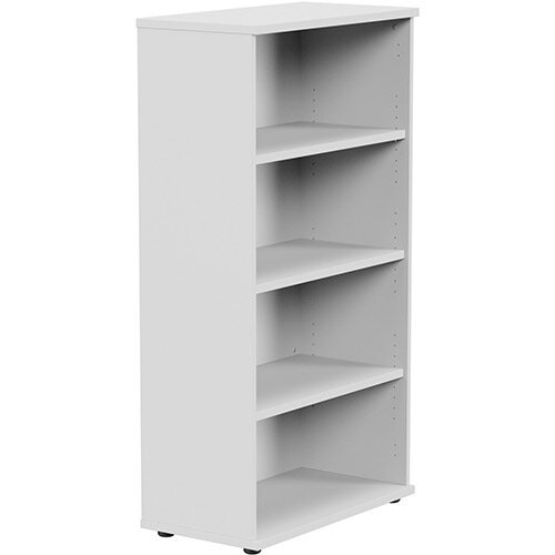 Medium Tall Bookcase with Adjustable Shelves and Floor-leveller Feet W800xD420xH1490mm White Kito