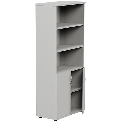 Tall Cupboard Part-Open Lockable Bottom Doors W800xD420xH1850mm Grey Kito