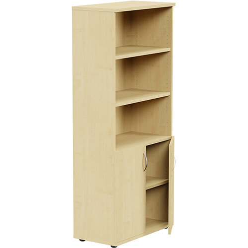 Tall Cupboard Part-Open Lockable Bottom Doors W800xD420xH1850mm Maple Kito