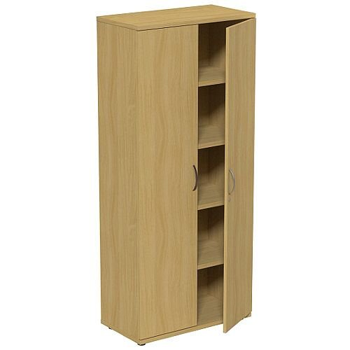 Tall Urban Oak 2 Door Office Cupboard 1850mm Height Kito