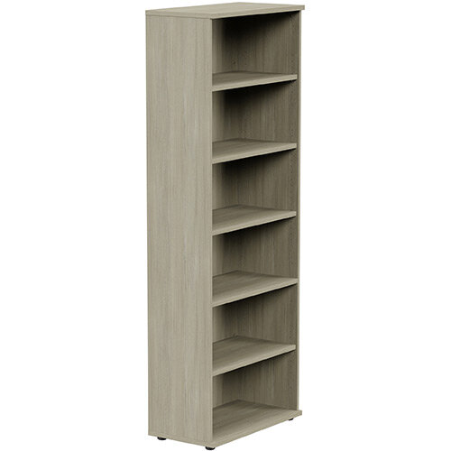 Tall Bookcase with Adjustable Shelves and Floor-leveller Feet W800xD420xH2210mm Arctic Oak Kito