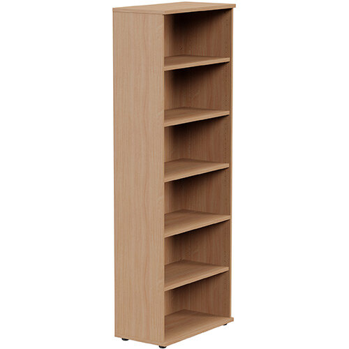Tall Bookcase with Adjustable Shelves and Floor-leveller Feet W800xD420xH2210mm Beech Kito