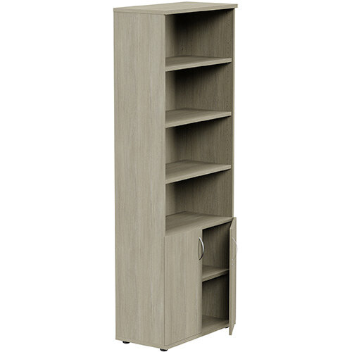 Tall Cupboard Part-Open Lockable Bottom Doors W800xD420xH2210mm Arctic Oak Kito