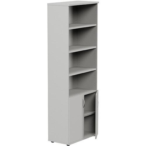 Tall Cupboard Part-Open Lockable Bottom Doors W800xD420xH2210mm Grey Kito