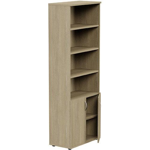 Tall Cupboard Part-Open Lockable Bottom Doors W800xD420xH2210mm Urban Oak Kito