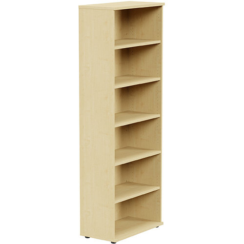 Tall Bookcase with Adjustable Shelves and Floor-leveller Feet W800xD420xH2210mm Maple Kito