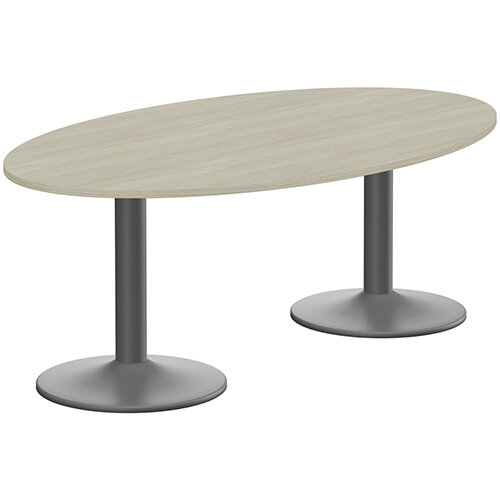 Kito W2000mmxD1200mm Arctic Oak Oval Boardroom Table With Anthracite Double Cylinder Trumpet Base - 6-8 Person Seating Capacity