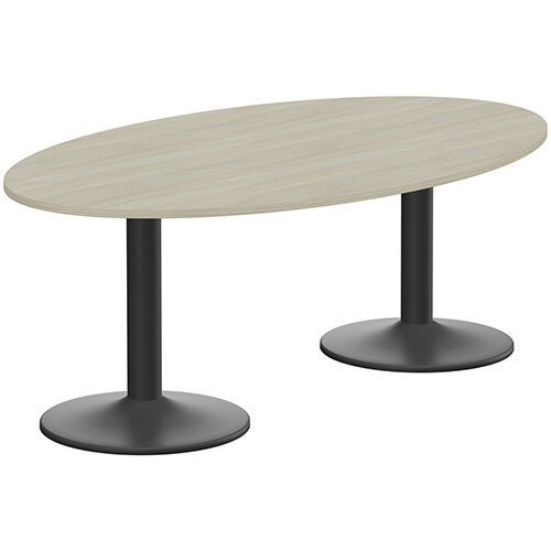 Kito W2000mmxD1200mm Arctic Oak Oval Boardroom Table With Black Double Cylinder Trumpet Base - 6-8 Person Seating Capacity