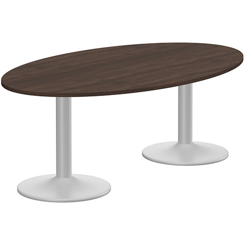 Kito W2000mmxD1200mm Dark Walnut  Oval Boardroom Table With Silver Double Cylinder Trumpet Base - 6-8 Person Seating Capacity