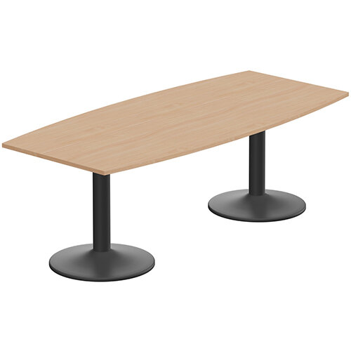 Kito W2200mmxD1000/800mm Beech Boat Shaped Boardroom Table With Black Double Cylinder Trumpet Base - 8-10 Person Seating Capacity