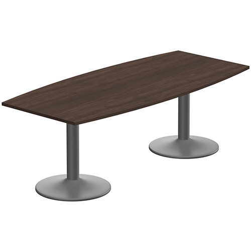 Kito W2200mmxD1000/800mm Dark Walnut  Boat Shaped Boardroom Table With Anthracite Double Cylinder Trumpet Base - 8-10 Person Seating Capacity