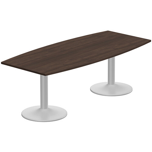 Kito W2200mmxD1000/800mm Dark Walnut  Boat Shaped Boardroom Table With Silver Double Cylinder Trumpet Base - 8-10 Person Seating Capacity