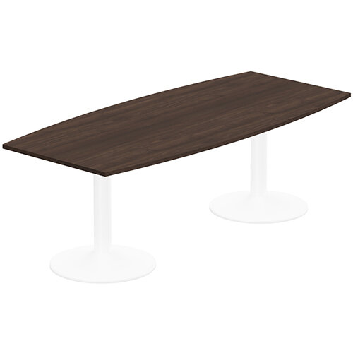 Kito W2200mmxD1000/800mm Dark Walnut  Boat Shaped Boardroom Table With White Double Cylinder Trumpet Base - 8-10 Person Seating Capacity