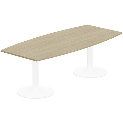 Kito W2200mmxD1000/800mm Urban Oak Boat Shaped Boardroom Table With White Double Cylinder Trumpet Base - 8-10 Person Seating Capacity