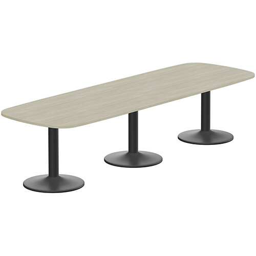 Kito W3200mmxD1200mm Arctic Oak Rounded Edge Rectangular Boardroom Table With Black Triple Cylinder Base - 10-12 Person Seating Capacity