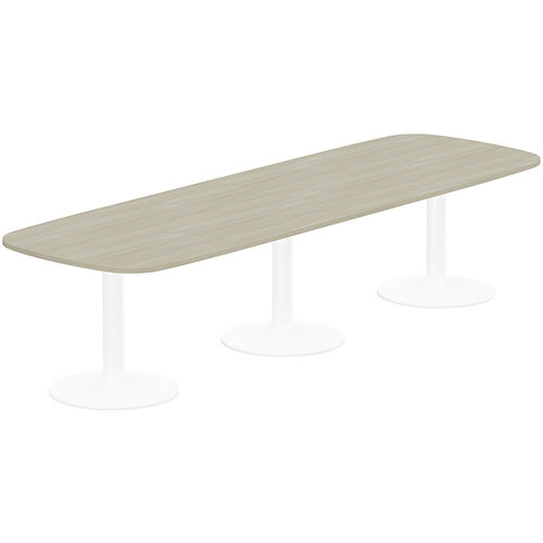 Kito W3200mmxD1200mm Arctic Oak Rounded Edge Rectangular Boardroom Table With White Triple Cylinder Base - 10-12 Person Seating Capacity