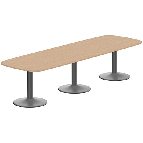 Kito W3200mmxD1200mm Beech Rounded Edge Rectangular Boardroom Table With Anthracite Triple Cylinder Base - 10-12 Person Seating Capacity