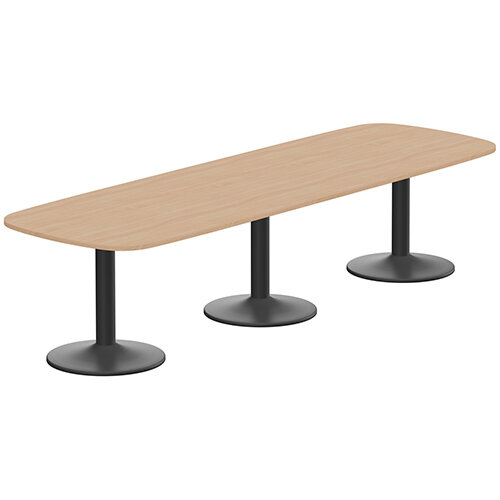 Kito W3200mmxD1200mm Beech Rounded Edge Rectangular Boardroom Table With Black Triple Cylinder Base - 10-12 Person Seating Capacity
