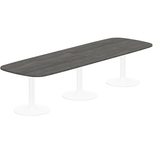 Kito W3200mmxD1200mm Carbon Walnut Rounded Edge Rectangular Boardroom Table With White Triple Cylinder Base - 10-12 Person Seating Capacity