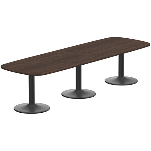 Kito W3200mmxD1200mm Dark Walnut  Rounded Edge Rectangular Boardroom Table With Black Triple Cylinder Base - 10-12 Person Seating Capacity