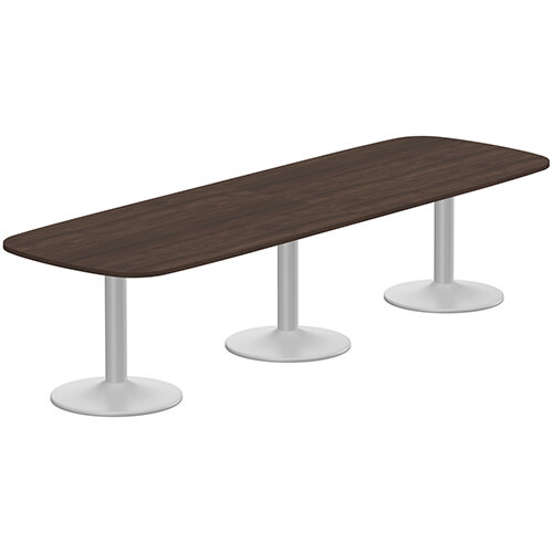 Kito W3200mmxD1200mm Dark Walnut  Rounded Edge Rectangular Boardroom Table With Silver Triple Cylinder Base - 10-12 Person Seating Capacity