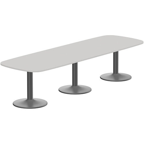 Kito W3200mmxD1200mm Grey Rounded Edge Rectangular Boardroom Table With Anthracite Triple Cylinder Base - 10-12 Person Seating Capacity