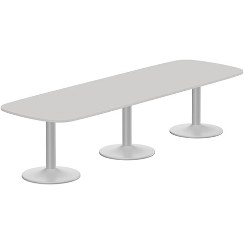 Kito W3200mmxD1200mm Grey Rounded Edge Rectangular Boardroom Table With Silver Triple Cylinder Base - 10-12 Person Seating Capacity