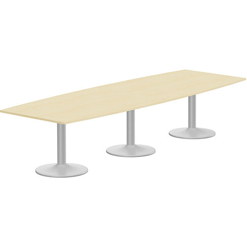 Kito W3500mmxD1200/1000mm Maple Boat Shaped Boardroom Table With With Silver Triple Cylinder Base - 12-14 Person Seating Capacity