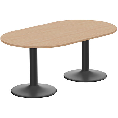 Kito W1800mmxD1000mm Beech D-End Boardroom Table With Black Double Cylinder Trumpet Base - 6-8 Person Seating Capacity