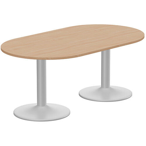 Kito W1800mmxD1000mm Beech D-End Boardroom Table With Silver Double Cylinder Trumpet Base - 6-8 Person Seating Capacity