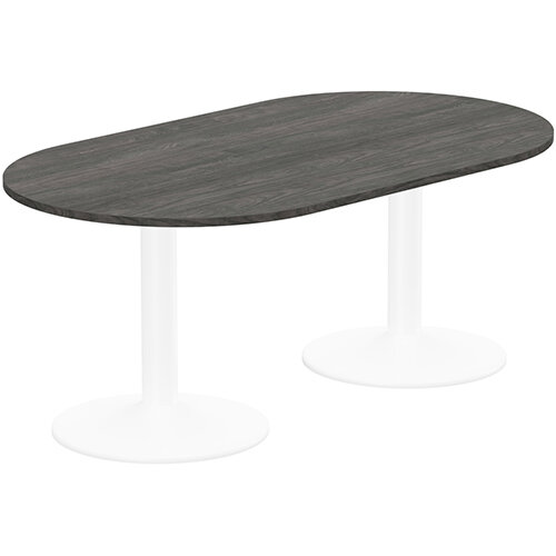 Kito W1800mmxD1000mm Carbon Walnut D-End Boardroom Table With White Double Cylinder Trumpet Base - 6-8 Person Seating Capacity