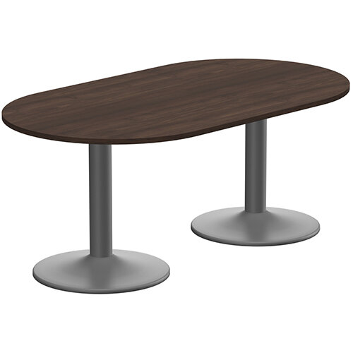 Kito W1800mmxD1000mm Dark Walnut  D-End Boardroom Table With Anthracite Double Cylinder Trumpet Base - 6-8 Person Seating Capacity