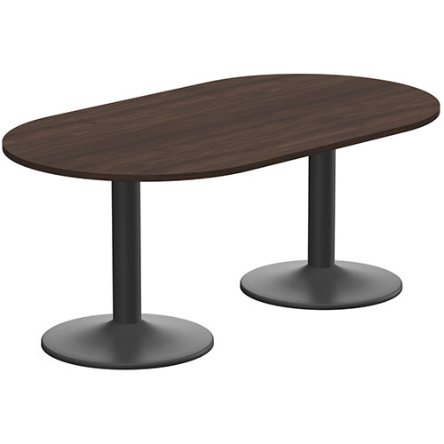Kito W1800mmxD1000mm Dark Walnut  D-End Boardroom Table With Black Double Cylinder Trumpet Base - 6-8 Person Seating Capacity