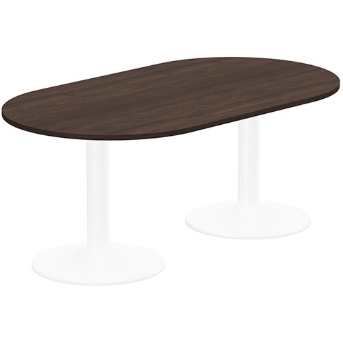 Kito W1800mmxD1000mm Dark Walnut  D-End Boardroom Table With White Double Cylinder Trumpet Base - 6-8 Person Seating Capacity